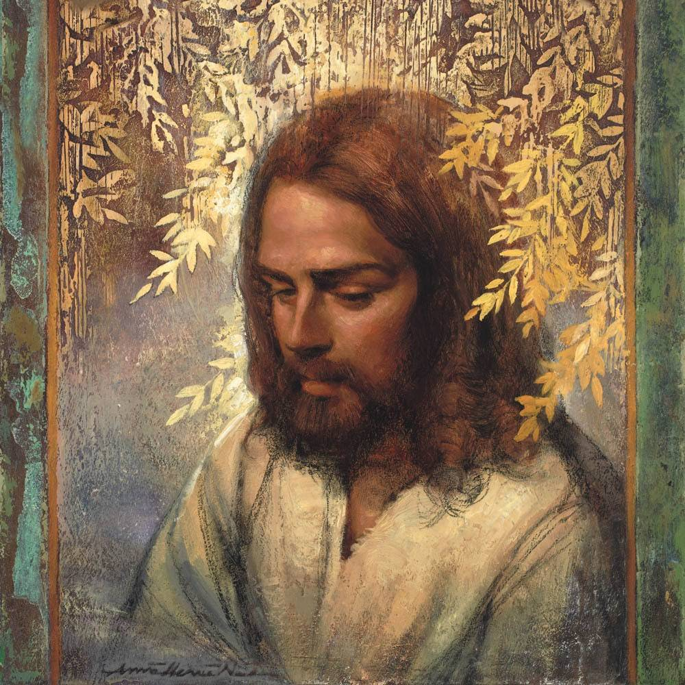 Painting of Jesus deep in thought. Golden branches reach down and surround His head.