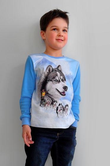 Хлопковый лонгслив с принтом хаски и упряжкой ездовых собак