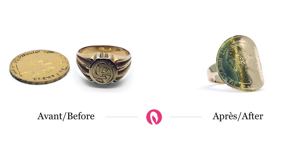Transformation of a yellow gold signet ring and a Napoleon gold coin into a ring with a fixed and curved coin.