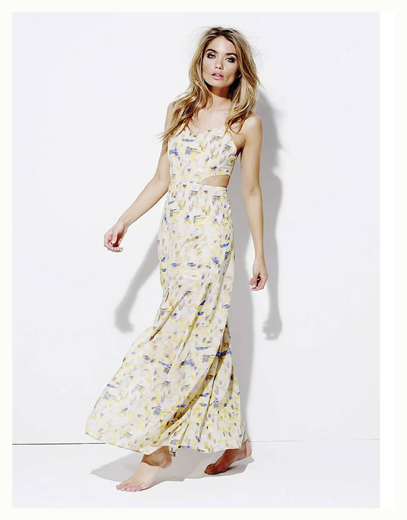 Varley Catherine Yellow Feather Maxi Dress