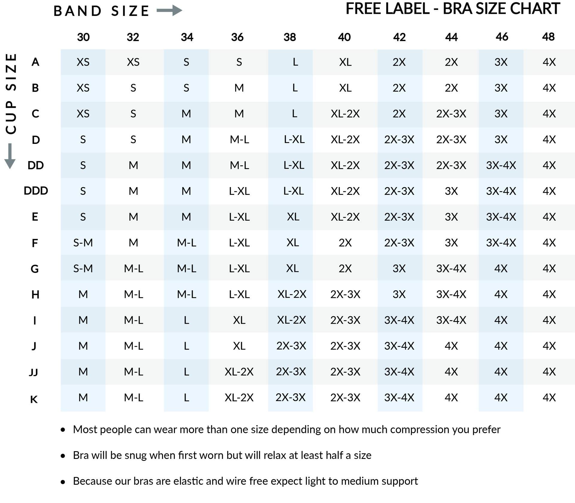 bra size chart Free Label