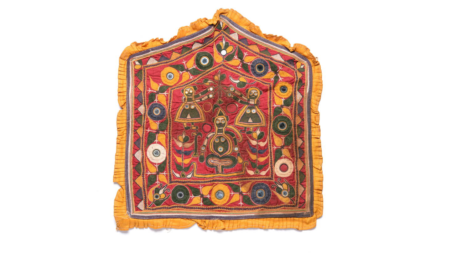 Old Banjara textile with Mirrors- some dye run From India