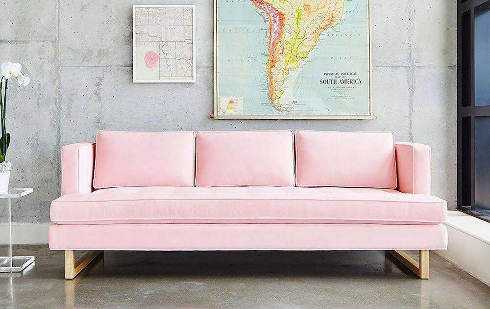 Gus Aubrey Sofa, featured in velvet blush