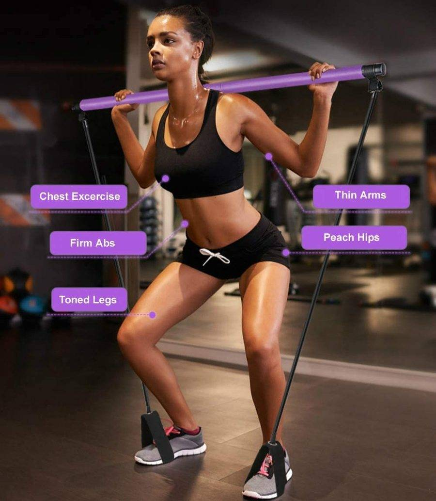 Exercise Resistance Band ,  Yoga Pilates Bar Kit, Portable Pilates Stick