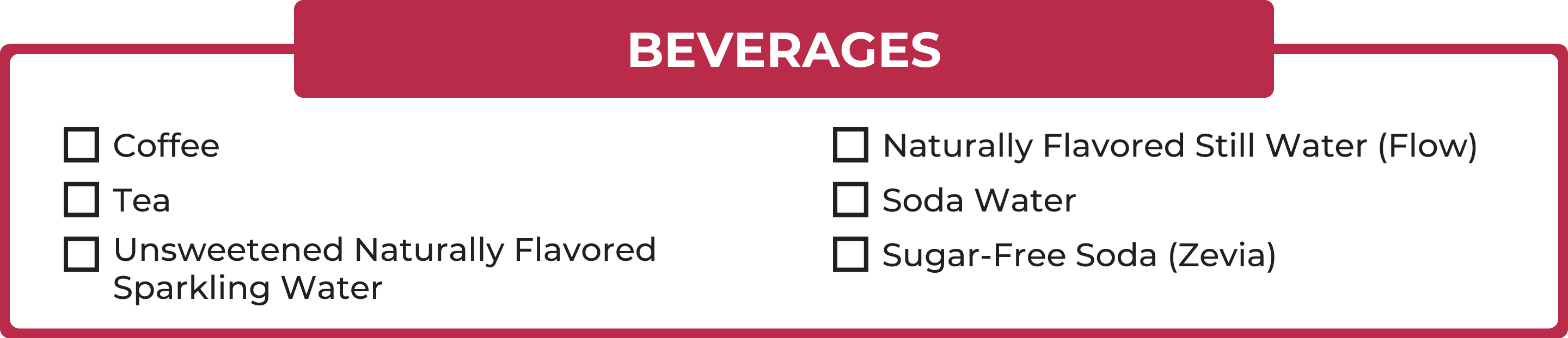 No carb foods: Beverages