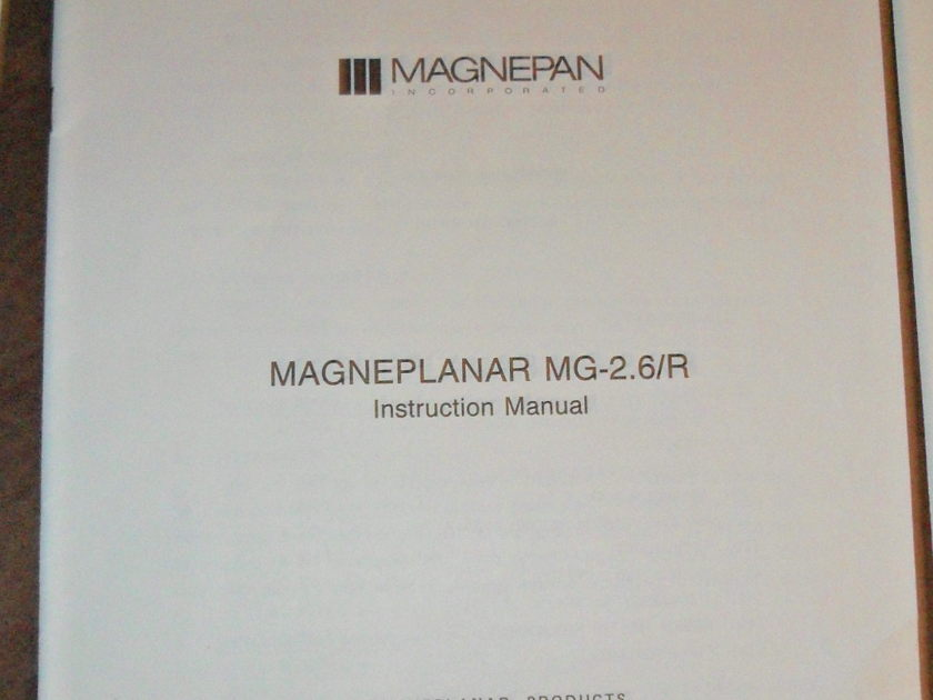 magnepan 2.6 planar speaker