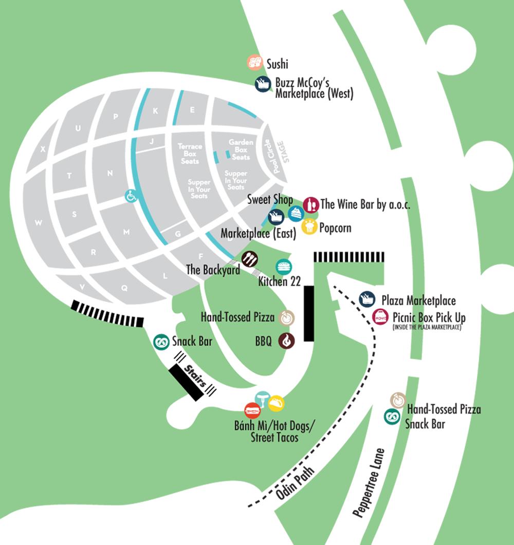 Hollywood Bowl Map Culinary Map | Hollywood Bowl