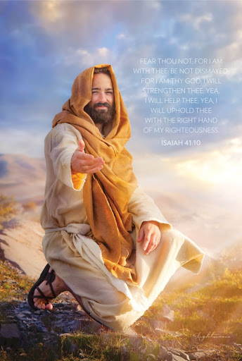 Vertical LDS art poster of Christ reaching out encouragingly.  Includes text from Isaiah 41:10.
