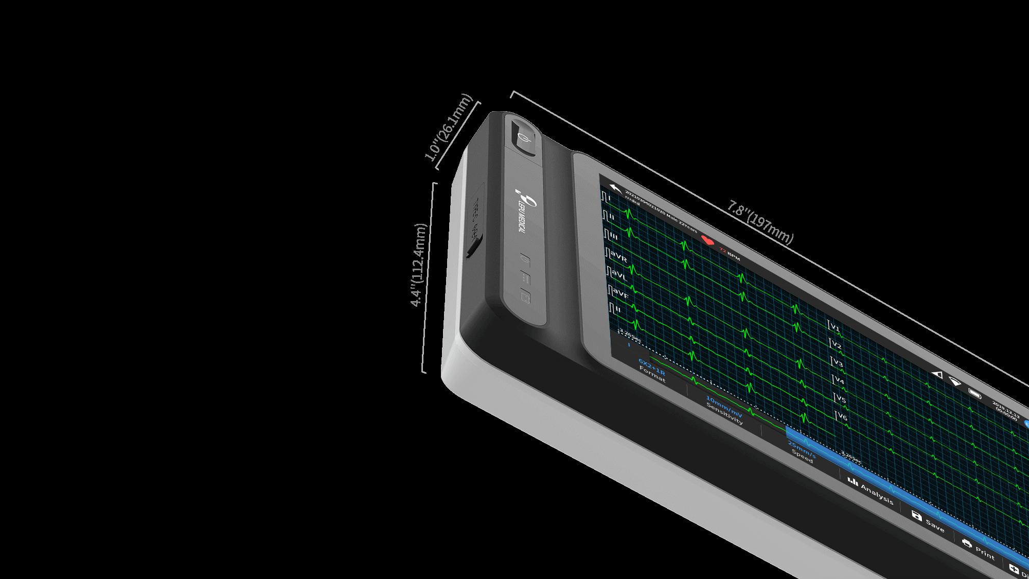 """La especificación de tamaño de la máquina de ECG basada en tableta inteligente de 12 derivaciones Wellue: 197 mm x 112.4 mm x 26.1 mm (7.8 '' x 4.4 """"x 1.0"""")."""