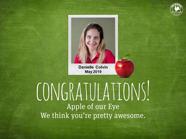 Danielle Colvin May 2019 apple of our eye