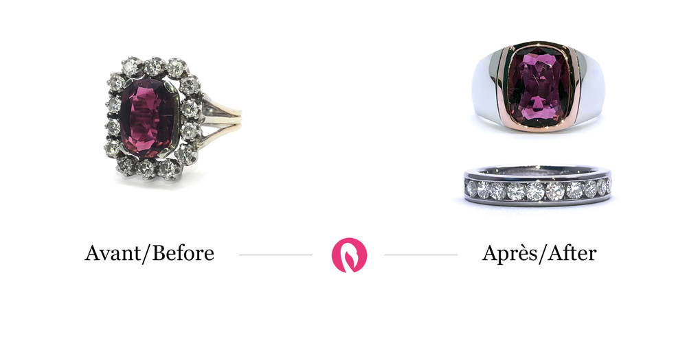 Transformation of an antique ring with 14 diamonds and precious stone in the center into a modern wedding ring with 14 diamonds without the stone.