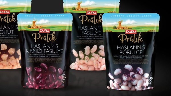 Duru Pratik canned legumes packaging design.