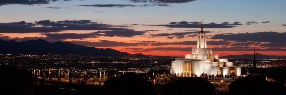 Panoramic photo of Draper Utah LDS Temple at sunset.