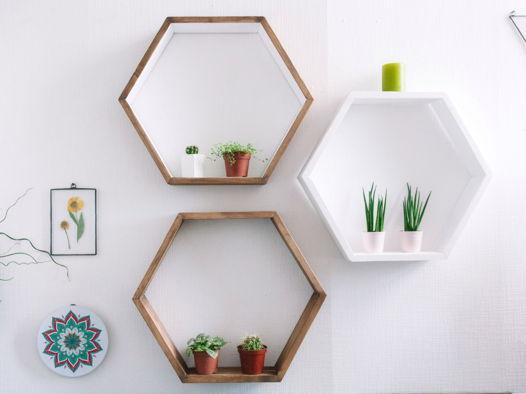 """Набор из трёх деревянных полок соты - шестигранники """"Heksa threesome"""""""