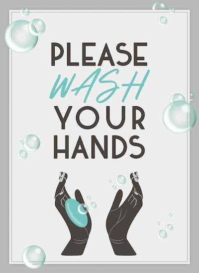COVID-19 signage for hotel. Wash hands posters.