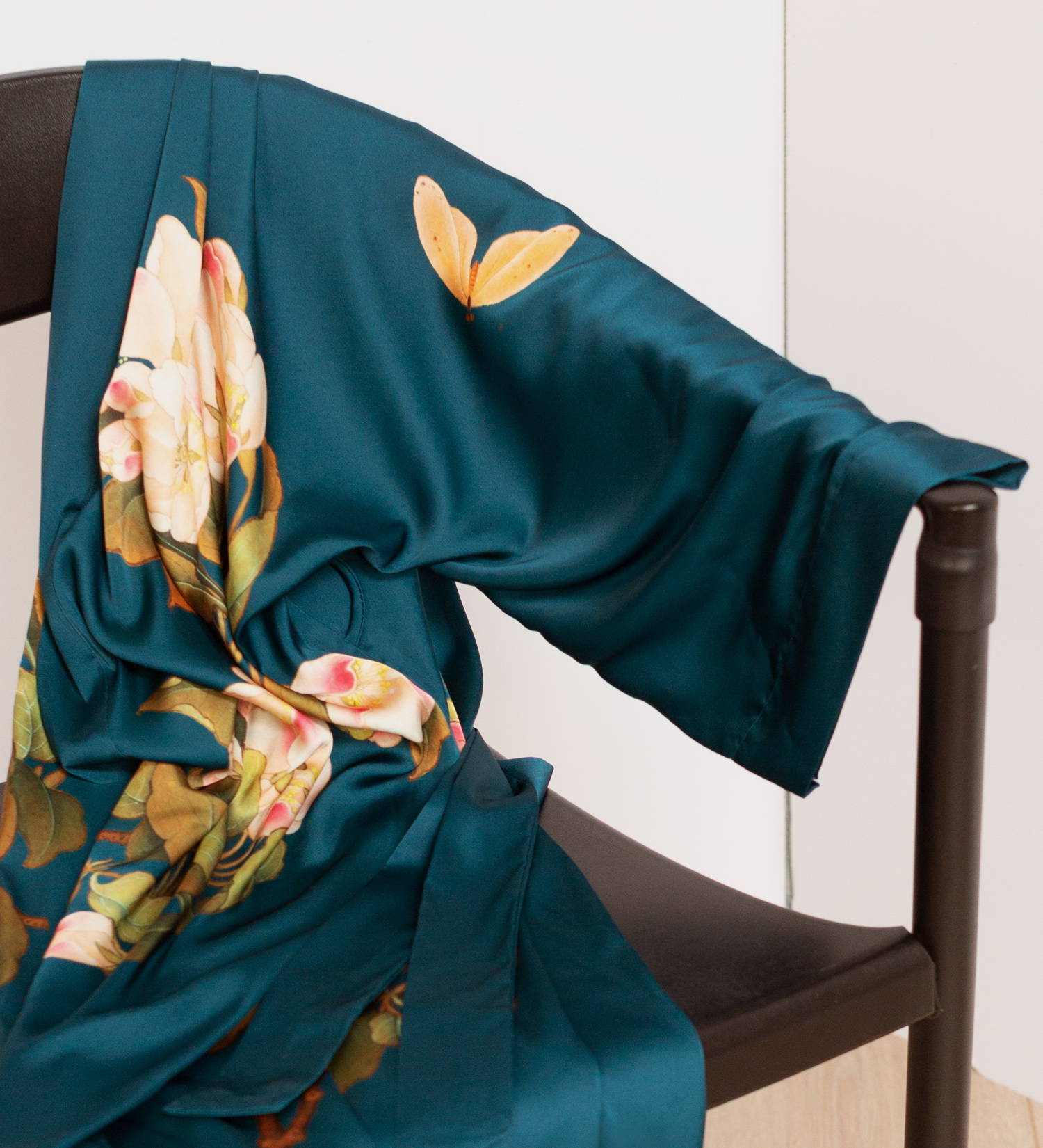 Peony & Butterfly Kimono Robe in Vintage Teal
