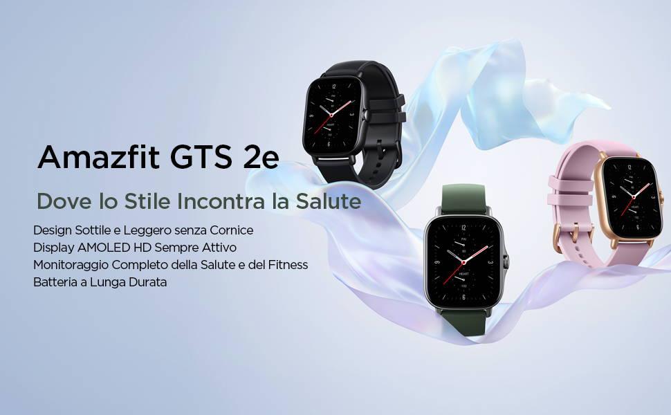 Amazfit GTS 2e - Dove lo Stile Incontra la Salute: Design Sottile e Leggero senza Cornice | Display AMOLED HD Sempre Attivo | Monitoraggio Completo della Salute e del Fitness | Batteria a Lunga Durata.