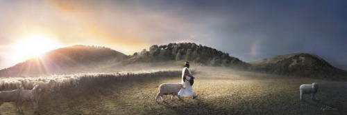 Jesus walking away from a large flock of sheep to reach a distant lamb.