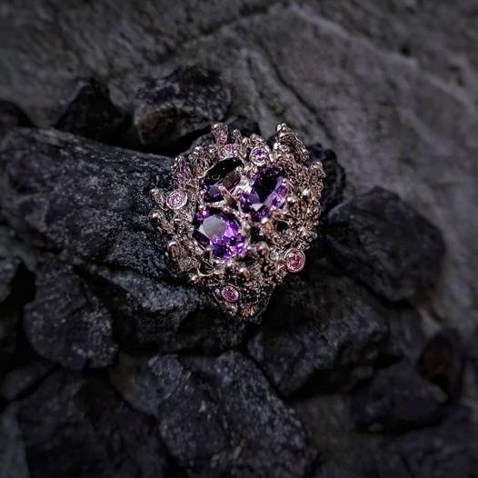 Серебряное 925 Кольцо с аметистами и топазами «Рокс»