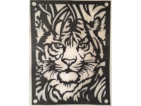 Magnificent Acrylic Tiger Cutout on White (16 x 20)