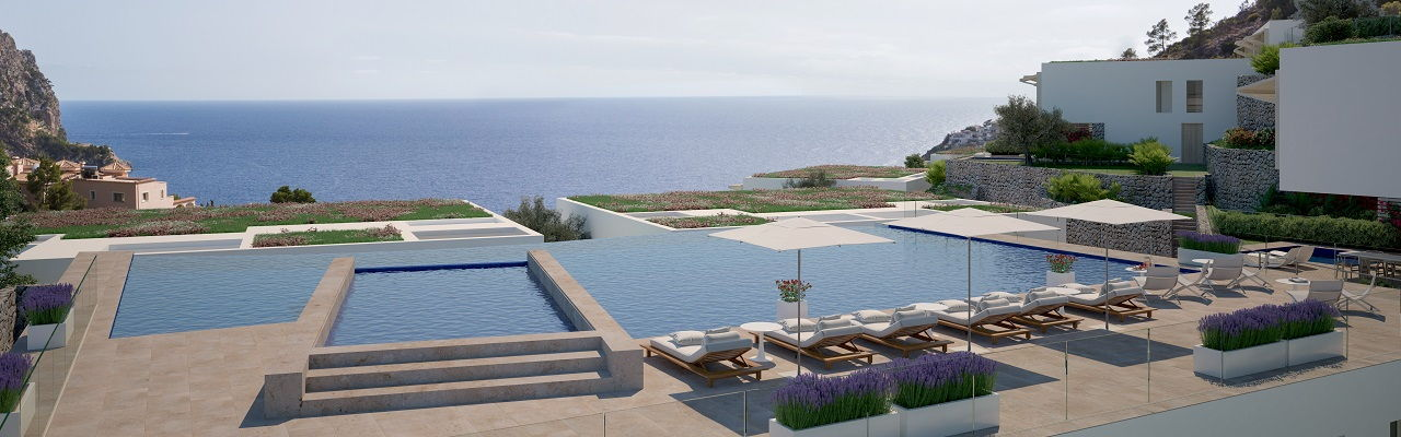 Hamburg - The exclusive community pools of New Folies, with breathtaking views of the bay of Cala Llamp.