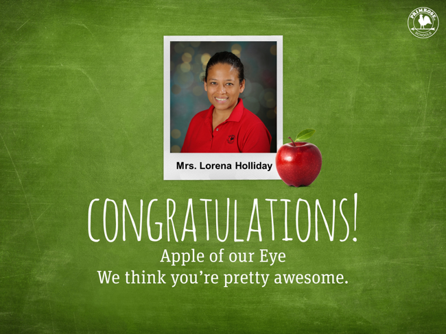 Congratulations to Mrs. Lorena Holliday - February 2020