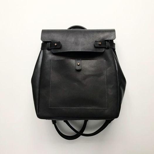 Кожаный рюкзак-сумка Square Black