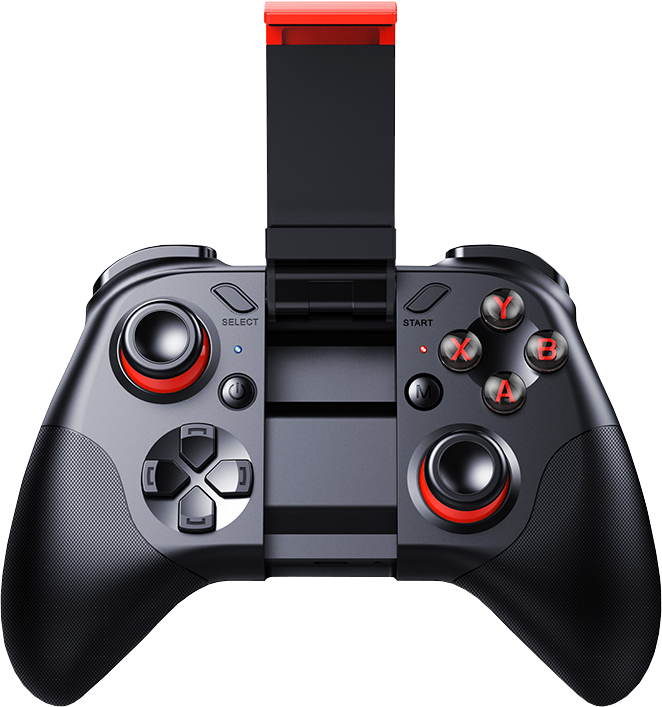 bluetooth mobile gaming controller with a phone mount