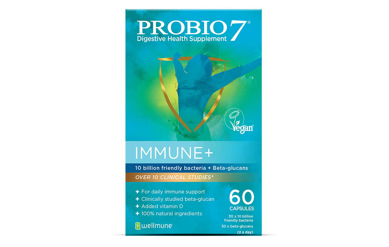 Probio7 Immune+. Daily immune support containing friendly bacteria, a clinically studied beta-glucan and vitamin D to support the function of your immune system