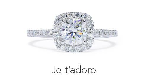 Bague de fiançailles semi-éternité en or blanc avec 40 diamants synthétiques