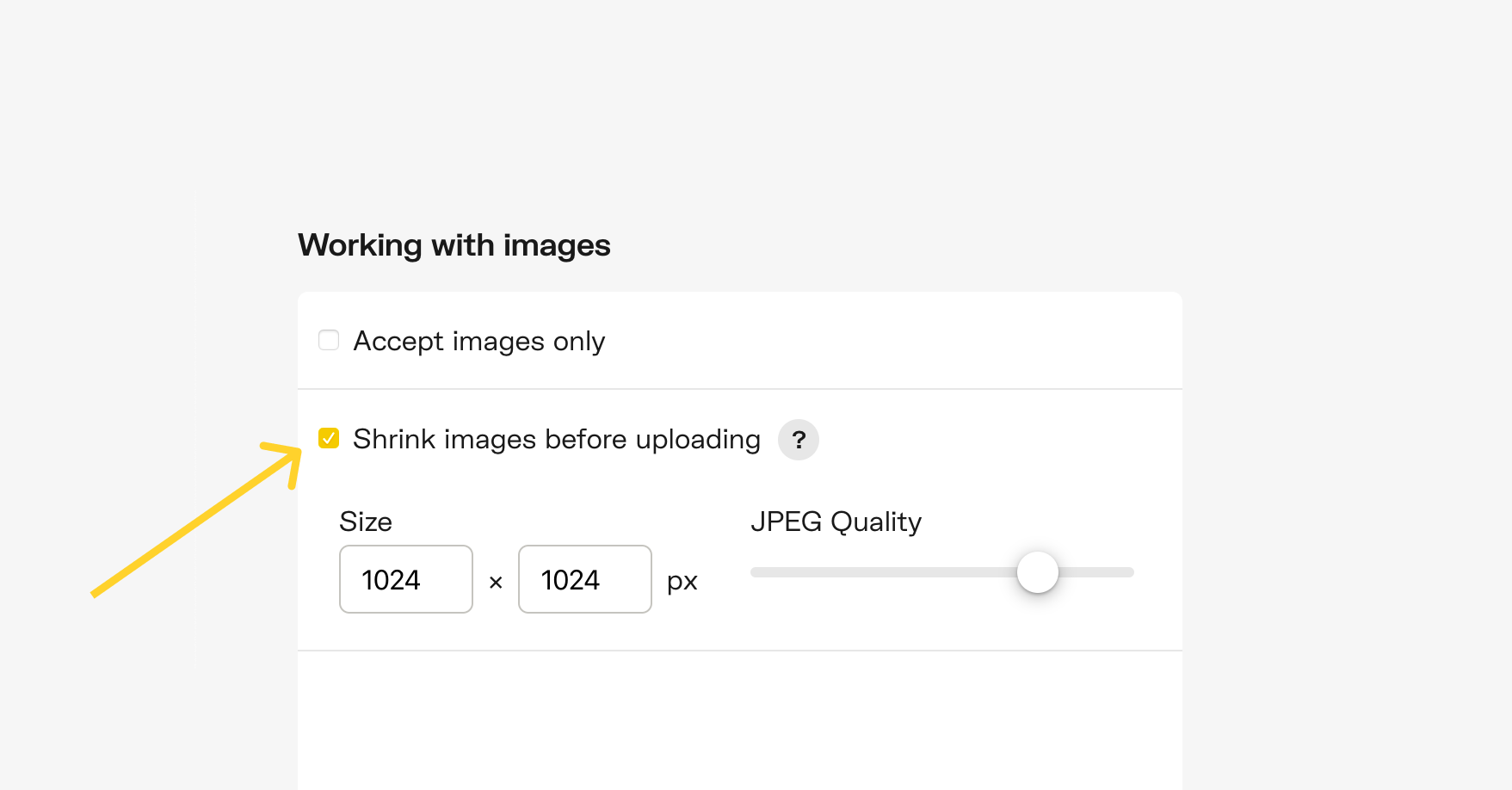 Shrink images before uploading