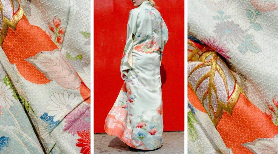 example of japanese rinzu silk used in a kimono