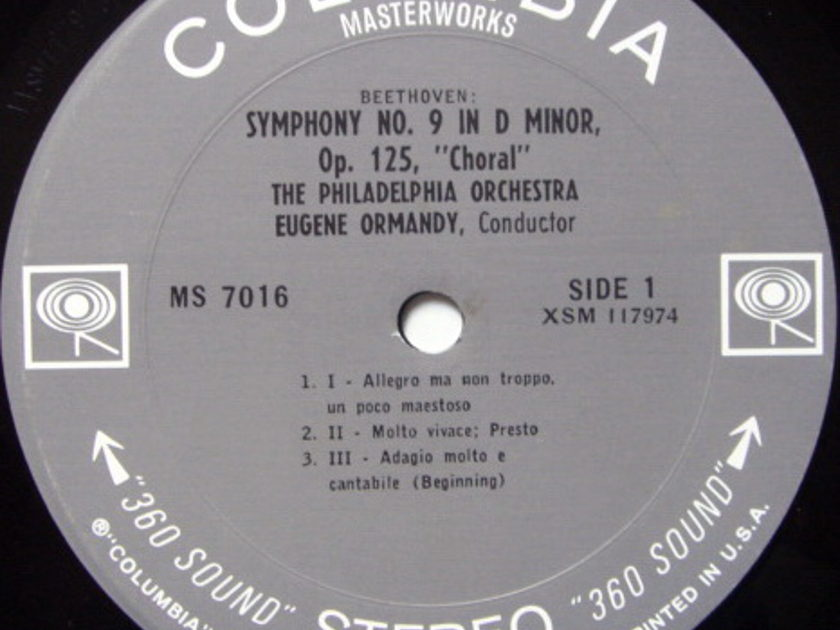 Columbia 2-EYE / EUGENE ORMANDY, - Beethoven Symphony No.9 Chorale, MINT!