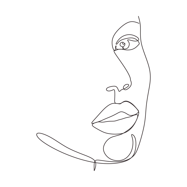 single line woman face