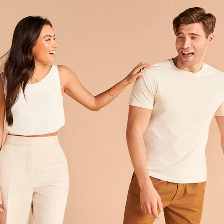 brunette women and brunette man laughing