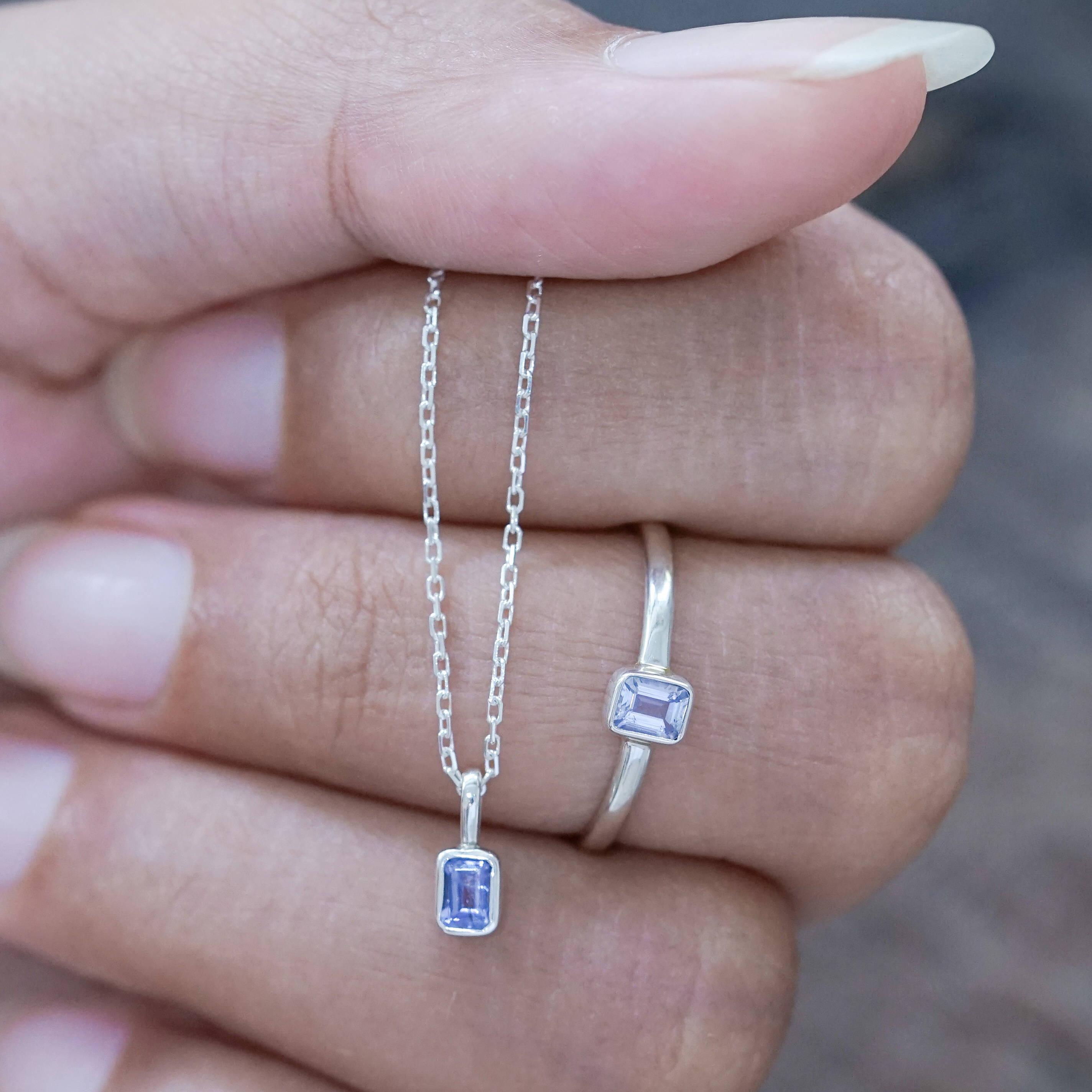 Silver tanzanite ring and silver tanzanite necklace