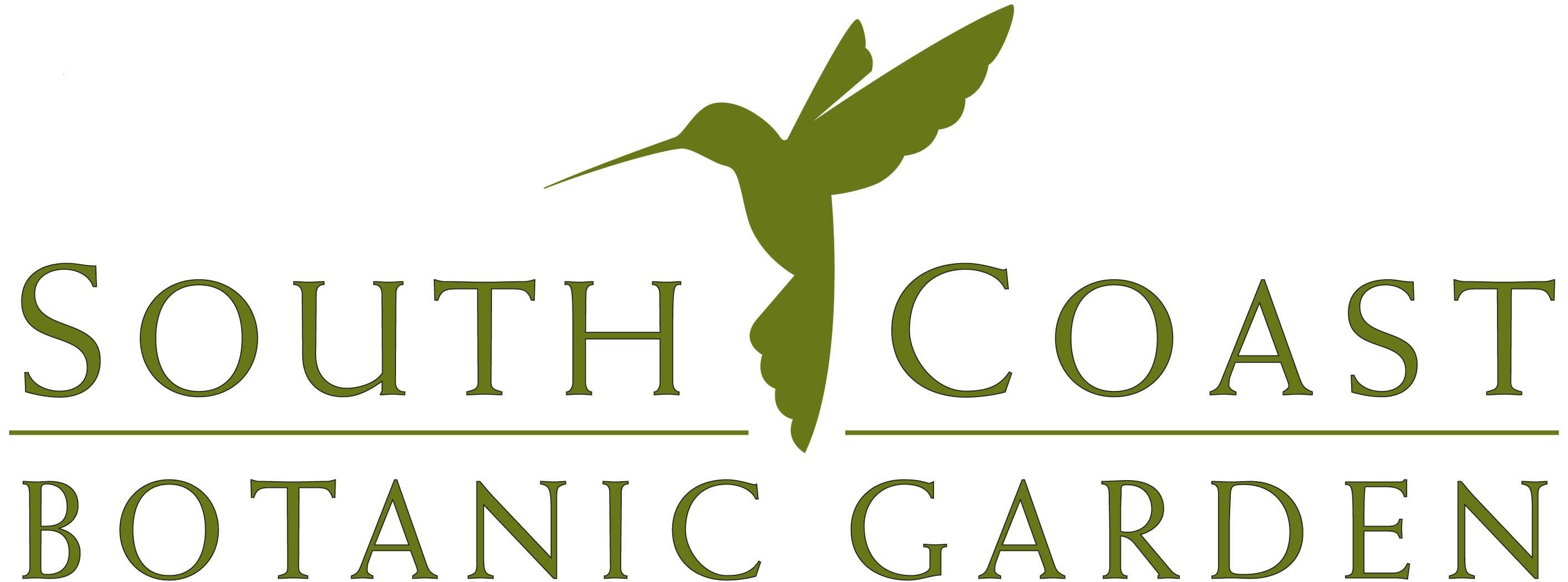 logo for south coast botanic garden with a hummingbird in flight between the text