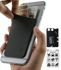 phone wallet Gray with Black logo by gecko travel tech