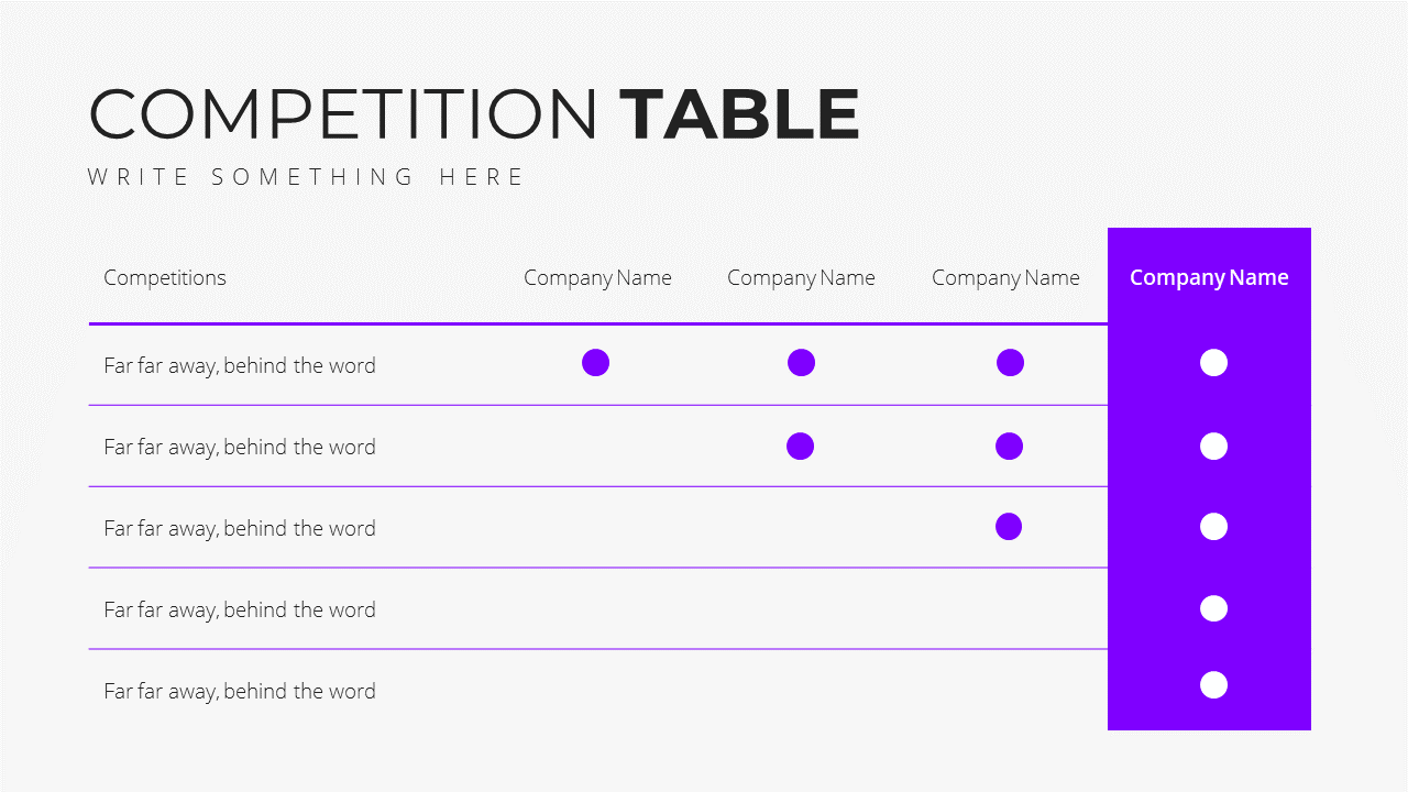 Minimal X  Pitch Deck Presentation Template Competition Table