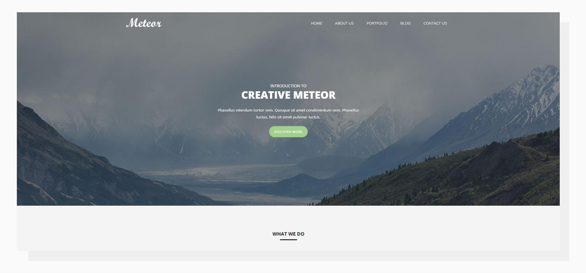 Free website template - Meteor
