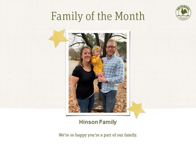 Primrose family of month - December- parent appreciation