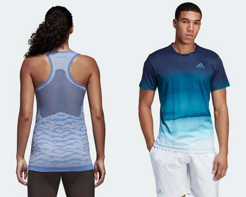 Back of woman wearing light lavender patterned Adidas parley primeknit sustainable running vest and Man wearing running t-shirt with blue gradient pattern and white shorts from sustainable activewear brand Adidas Parley