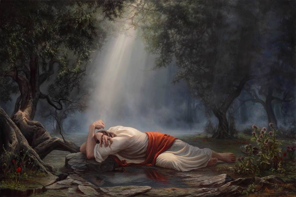 Dramatic painting of Jesus suffering in Gethsemane. He lies in pain on the forest floor while a light shines down on Him.