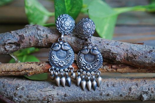 Серебряные серьги с павлинами