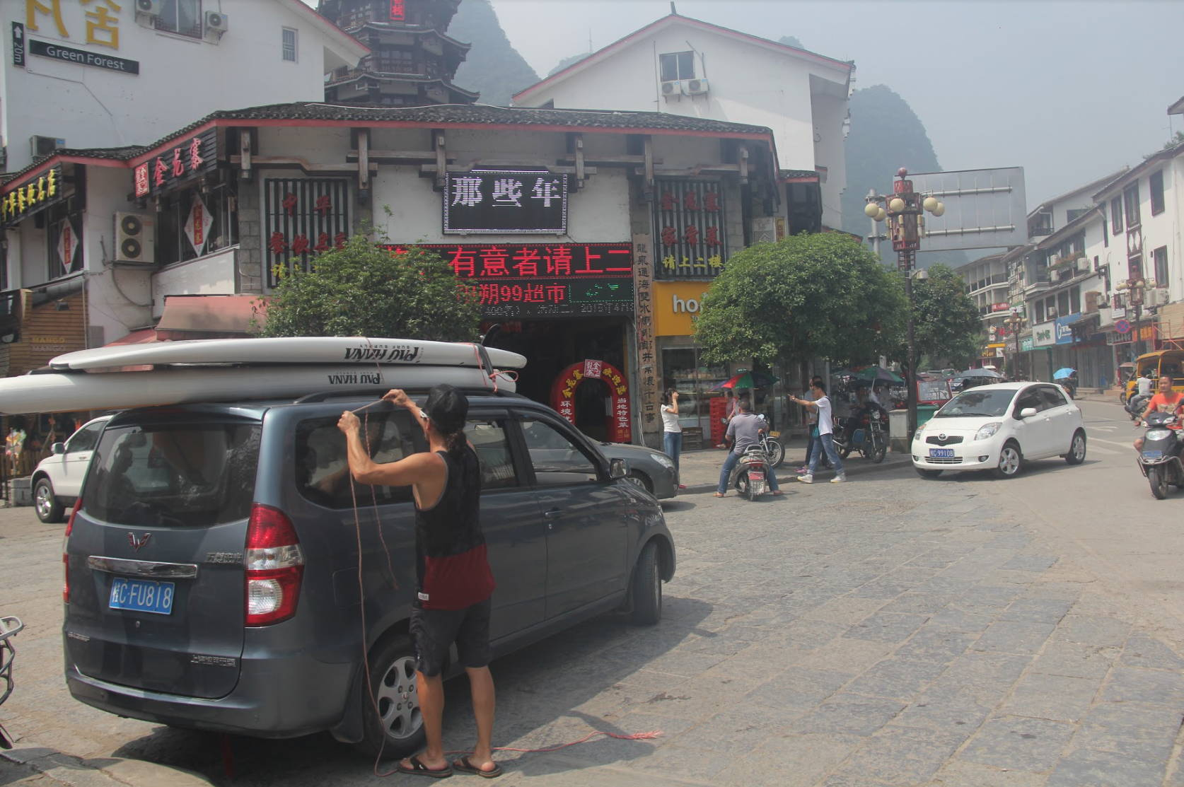 Todd rigging the boards in china that he got from the sup factory