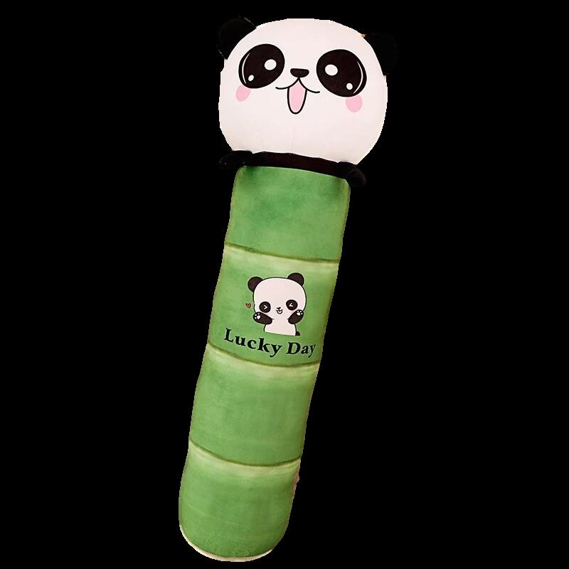 traversin peluche panda en forme de bambou