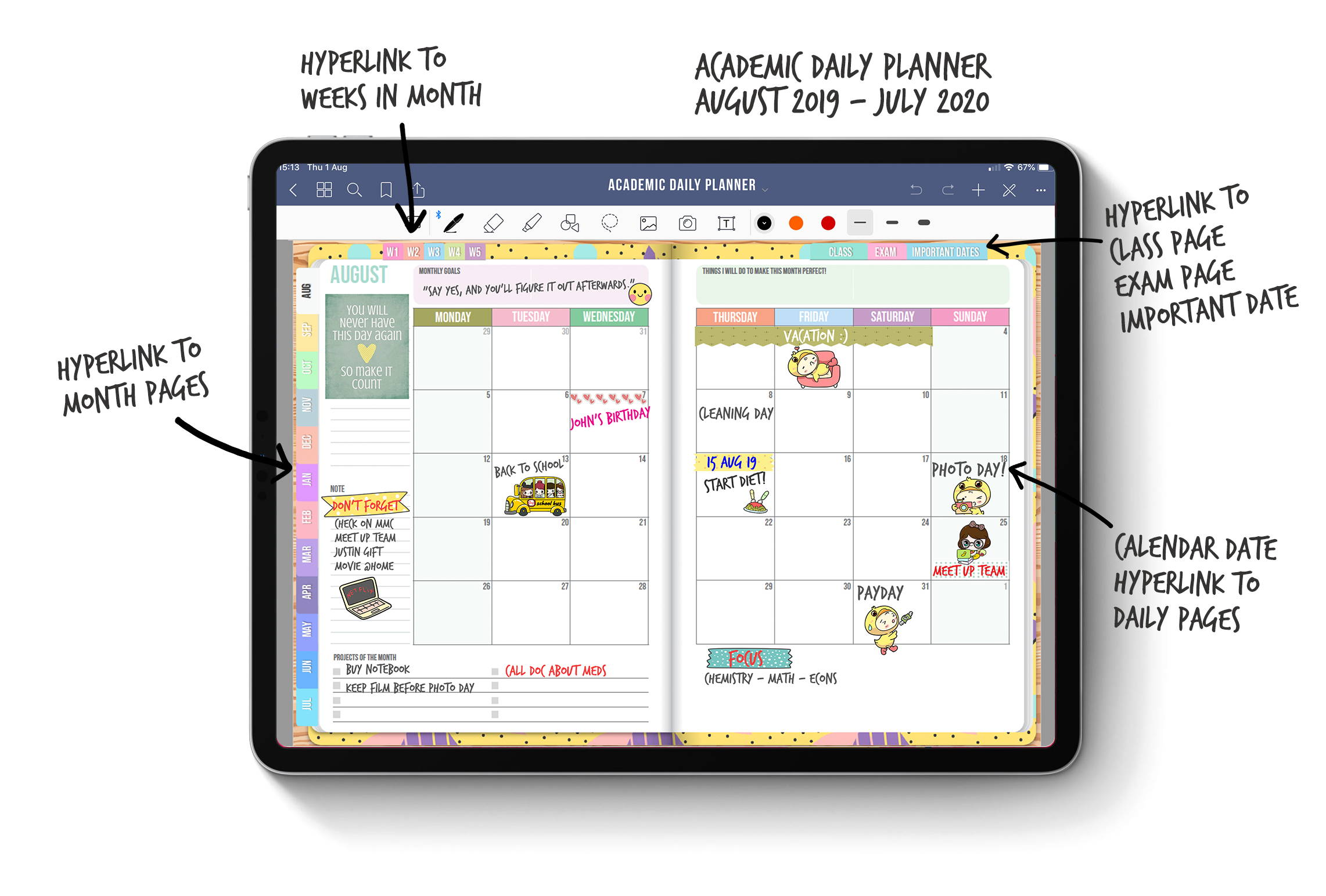 BabaNana Academic Daily Planner