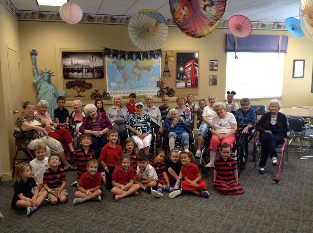 Photo of Primrose Kindergarten Students with Residents of The Windsor of Lakewood Ranch