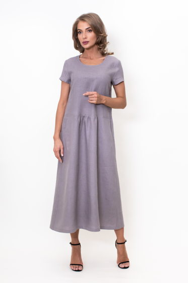 Длинное льняное платье (серый)