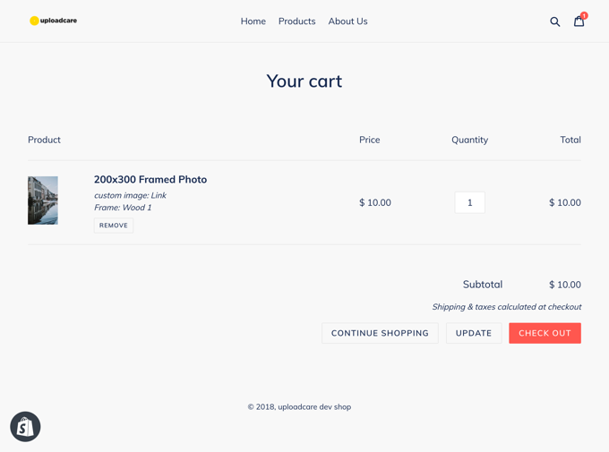 Shopify cart page